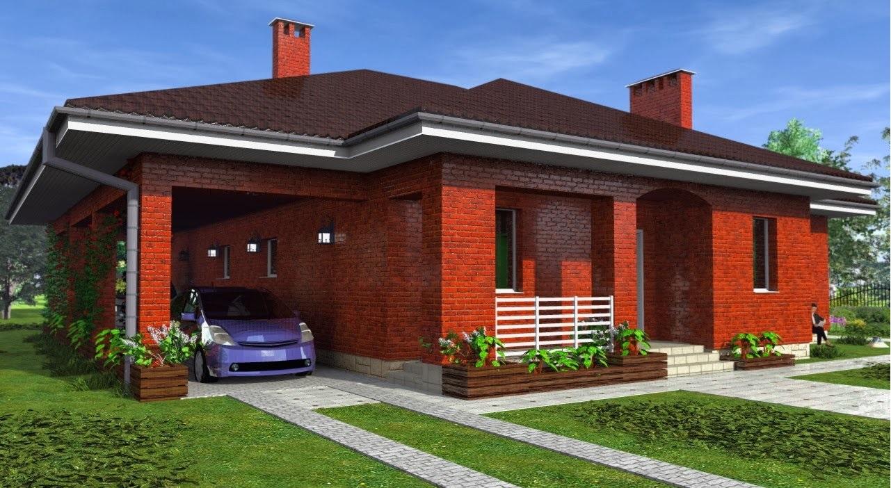 Фасады одноэтажных домов из кирпича фото